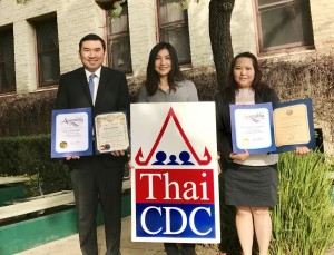 Thai CDC was awarded the Lunar New Year Award during Pacific Asian Consortium in Employment's (PACE) 10th Annual Lunar New Year Awards luncheon. Supranee May (Middle)Thai CDC's business counselor, has been working with Marut Manorat and Parunwatee Suksawad since last October helping them with a business start up guide, financial literacy, updating their business plan and loan packages.