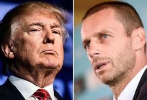 """อาจจะหมดโอกาสเป็นเจ้าภาพฟุตบอลโลก หลังจากคว้าชัยชนะการเลือกตั้งผู้นำสหรัฐอเมริกา อย่างเหนือความคาดหมาย และมีคำพูดคำจาแบบคนใหญ่คนโตระดับผู้นำประเทศเขาจะไม่พูดกันแถมยังเซ็นคำสั่งห้ามพลเรือน 7 ประเทศมุสลิมอย่างอิหร่าน, อิรัก, ซีเรีย, ลิเบีย, โซมาเลีย, ซูดาน และเยเมน เข้าประเทศสหรัฐอเมริกา ได้รับการตอบโต้จากท่าน..""""อเล็กซานเดอร์ เซเฟริน """"..ประธานสหพันธ์ฟุตบอลยุโรป (ยูฟ่า) คนใหม่ ให้ข่าวฝากเตือนถึง..""""นายโดนัลด์ ทรัมป์""""..ประธานาธิบดีประเทศสหรัฐอเมริกา ผ่าน """"เดอะ นิวยอร์ก ไทม์ส"""" สื่อนครนิวยอร์ก, สหรัฐอเมริกา ที่ได้เดินทางตามมาสัมภาษณ์เขาถึงสำนักงานใหญ่ """"ยูฟ่า"""" ที่เมืองนียง ประเทศสวิตเซอร์แลนด์ ว่านโยบายทางการเมืองที่ทรัมป์ต้องการห้ามหลายชาติชาวมุสลิมเข้าประเทศ มีสิทธิทำให้สหรัฐอเมริกา อาจไม่ได้เป็นเจ้าภาพฟุตบอลโลก 2026.."""