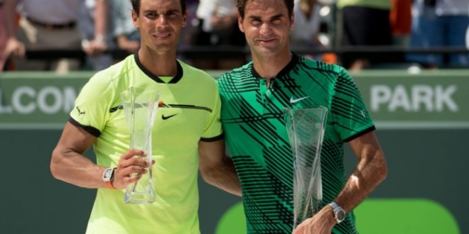 KEY BISCAYNE, FL - APRIL 02: Rafael Nadal of Spain (left) and Roger Federer of Switzerland (right) pose with their trophies after Federer defeated Nadal in the men's final match on day 14 of the Miami Open at Crandon Park Tennis Center on April 2, 2017 in Key Biscayne, Florida.   Rob Foldy/Getty Images/AFP == FOR NEWSPAPERS, INTERNET, TELCOS & TELEVISION USE ONLY ==