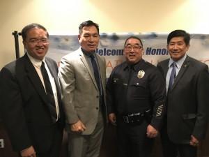 กงสุลสัณห์ อรุณรักษ์ติชัย-นายตร.ไทย-อเมริกัน พีท เพิ่มแสงงาม และคิด ฉัตรประภาชัย ร่วมงานฉลองตำแหน่งรองผ.บ LAPD Deputy Chief Dennis Kato Japanese-American เป็นคนเอเฃียที่มีตำแหน่งสูงสุดในLAPD ในปัจจุบัน ที่สำคัญเป็นผู้ดูแลไทยทาวน์&เกาหลี ทาวน์ งานจัดโดยชุมชนเกาหลี