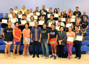 Royal Consul General L.A.-The Honorable Tanee Sangrat presented the certificates Aug 2017 to 97 students graduated from Muay Thai Course by Mr.David Huey and Mr.Sunti Sakkomkai Instrucktor @LACC, CA
