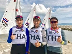"""ขอแสดงความยินดี ทีมเรือใบสาวสามารถคว้าแชมป์ประเภท ...Laser Radial ...ได้สำเร็จ 3 สาวสวยนักกีฬาไทย ได้แก่..""""วณิชชา โฉมทอง """"..."""" กัณพันธุ์ ปชาติกปัญญา""""... และ..."""" กมลชนก กล้าหาญ """"...เอาชนะ ทีมสิงคโปร์ 2-0 แมตช์ ในการแข่งขันเรือใบซีเกมส์ ครั้งที่ 29 """"กัวลาลัมเปอร์ 2017"""" ที่ประเทศมาเลเซีย เมื่อวันที่ 22 ส.ค. และเป็นการคว้าเหรียญทองที่ 8 สู่ประเทศไทย.."""