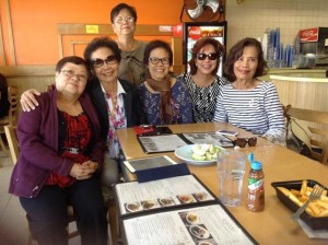 """วรุจี """"ติ๋ว""""พัฒนายุ (ขวาสุด) พยาบาลรุ่นเดอะ ชวนเพื่อนพยาบาลสนิทๆมา เม้าท์กัน ที่ร้านอาหาร โดยเฉพาะ สุนทรี พูนพิพัฒน์ (ที่2จากขวา) อดีตว่าที่นายกสมาคมไทยฯ ยุคกว่า 20 ปีที่ผ่านมา"""