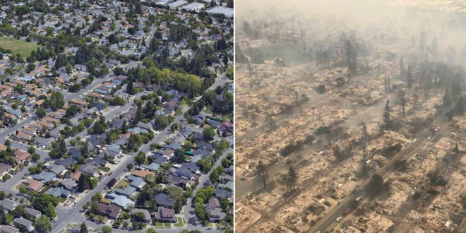 The Coffey Park subdivision in Santa Rosa, Calif., is seen before, left, and after wildfires swept through the area on Monday, Oct. 9, 2017. Officials have called it one of the most destructive fire emergencies in the state's history. (Before: Google Earth; after, California Highway Patrol via The New York Times)    -- NO SALES; FOR EDITORIAL USE ONLY WITH CALIF-WILDFIRES BY THOMAS FULLER and JONAH ENGEL BROMWICH. ALL OTHER USE PROHIBITED. --
