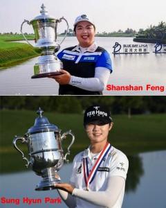 """…..""""Shanshan Feng"""" โปรสาวชาวจีนมืออันดับที่ 3 ของโลก ก่อนแข่งขันกอล์ฟรายการ ..Blue Bay LPGA...โชว์ฝีมือวงสวิงได้อย่างสนุกตื่นเต้นให้กองเชียร์ได้ชื่นชมตลอดทั้งวัน ก่อนปิดฉากคว้าตำแหน่งแชมป์ ด้วยสกอร์ 9 อันเดอร์พาร์ เป็นแชมป์รายการที่ 3 ของปีนี้ และคว้าแชมป์ได้ 2 สัปดาห์ติดต่อกันต่อจากศึก.. Japan Classic.. เมื่อ 2 สัปดาห์ก่อน """"Shanshan Feng"""" มีรายได้ทั้งหมด $9,710,523และได้แชมป์อาชีพแล้ว 22 ครั้ง """"Shanshan Feng"""" ผงาดขึ้นเป็นมืออันดับ 1 ของโลกคนใหม่ ในการจัดอันดับโลกวันจันทร์ที่ 13 พ.ย. (ได้แชมป์อาชีพแล้ว 22 ครั้ง) แซงผ่านโปรสาววัย 24 ปี """"Sung Hyun Park"""" ที่เพิ่งจะเข้ามาเล่นในโลก..LPGA Tour ..แบบเต็มตัวปีนี้เป็นปีแรกเท่านั้น แต่ก็ทำผลงานได้อย่างยอดเยี่ยมด้วยการคว้าแชมป์เมเจอร์ """"U.S. Women's Open 2017""""..เมื่อเดือนกรกฏาคมที่ผ่านมา รวมถึงคว้าแชมป์.. """"Canadian Pacific Women's Open"""" ในเดือนสิงหาคมที่ผ่านมา รวมตลอดทั้งปีที่เล่นผ่านมาได้ติดท็อป 10 ได้ถึง 7 จาก 17 รายการที่ลงแข่งขัน คว้าเงินรางวัลไปแล้วมากกว่า$2,000,000 และขึ้นมาเป็นผู้นำในอันดับนักกอล์ฟทำเงินสูงสุดของ.. LPGA Tour..ที่ใช้เวลาน้อยที่สุดเพียงแค่  7 เดือน กับ 13 วัน เท่านั้นเอง"""